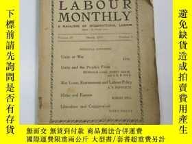 二手書博民逛書店民國外文原版罕見1937年 勞工月刊(labour monthl