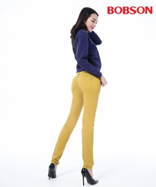 BOBSON 女款低腰膠原蛋白拉毛小直筒褲(8139-31)