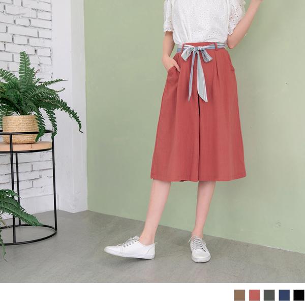 《BA4921-》高含棉後腰鬆緊蝴蝶結綁帶五分褲裙 OB嚴選