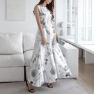 無袖洋裝小禮服 2021夏季新款韓版女神範氣質收腰無袖復古印花中長款大擺連身裙