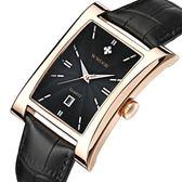 手錶男 方形男士手錶防水錶帶帶日歷皮帶男錶 手錶《印象精品》p123