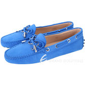 TOD'S Gommino 新版字母磨砂牛皮休閒豆豆鞋(女鞋/亮藍色) 1820292-23