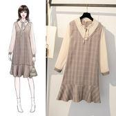 網紅款洋裝連身裙XL-5XL2019秋裝新款大碼女裝胖MM百搭格子拼接長袖連衣裙R007-18317
