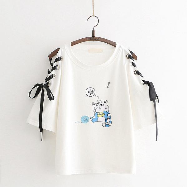 *ORead*日系森女系圓領卡通繫帶印花短袖上衣(2色F碼)