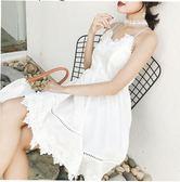 色禮服連衣裙夏蕾絲吊帶裙露背沙灘裙