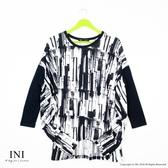 【INI】寬鬆好感、有型印花寬版連袖上衣.黑色