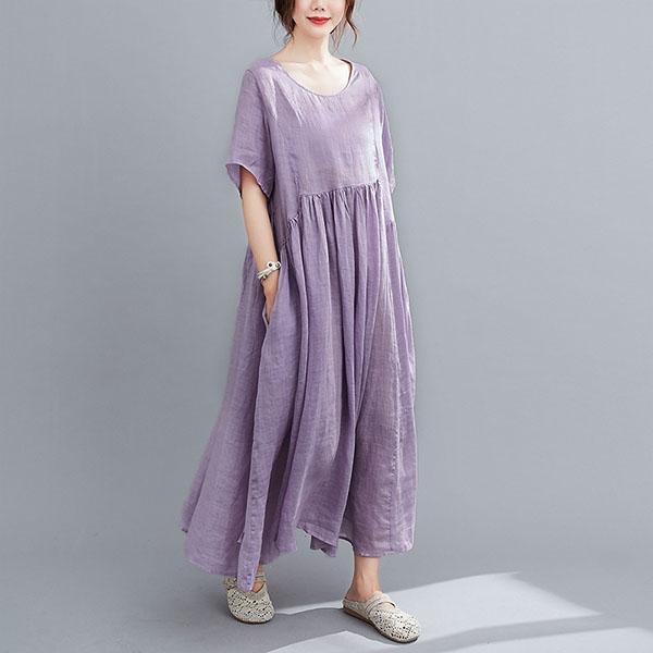 棉麻素色飄逸感長洋裝-大尺碼 獨具衣格 J3548
