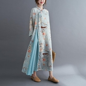 洋装 中大尺碼 2021年春季新款文藝大碼韓版復古印花棉麻撞色立領盤扣連身裙開叉