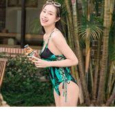 《VC0066》夏日印花側鏤空綁帶連身泳衣 OrangeBear