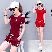 休閑運動跑步套裝學生修身顯瘦韓版短袖短褲兩件套