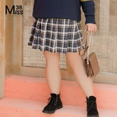 Miss38-(現貨)【A08309】大尺碼格子短裙 學院風寶藍 後腰鬆緊 經典百搭百褶裙 及膝半身裙-中大尺碼
