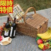 野餐籃 餐具組合-戶外旅行四人份郊遊用品68e22[時尚巴黎]