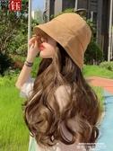 假髮帽漁夫帽子女韓版潮百搭水桶帽假髮帽子一體女夏天時尚長卷髮大波浪 萊俐亞