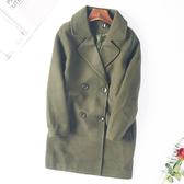 現貨出清韓版翻領英倫中長款修身毛呢外套 -XL墨綠色