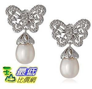 [美國直購] Sterling Silver Freshwater Cultured Pearl Diamond Butterfly Drop Earrings 耳環