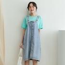 MIUSTAR 隱藏口袋寬版牛仔吊帶裙(共1色,M-L)【NJ1122】預購