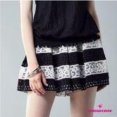 【SHOWCASE】俏麗黑白條紋蕾絲褲裙(黑)
