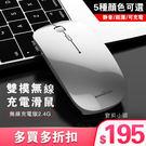 滑鼠 充電無聲靜音蘋果macbook air筆記本電腦女生薄USB 贈接收頭-充電接口五色可選 現貨