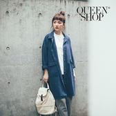 Queen Shop【02040567】素面口袋翻領排釦外套 兩色售*預購*