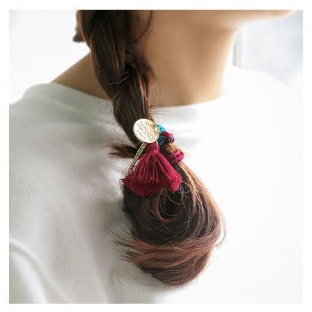 韓版 配色雙繩流蘇綴飾髮圈 髮飾 髮圈 髮束 手環 髮繩 橡皮筋 流蘇