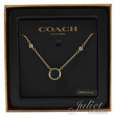 茱麗葉精品【全新現貨】 COACH 67127 新款 藍水晶圓形造型鎖骨鍊.金