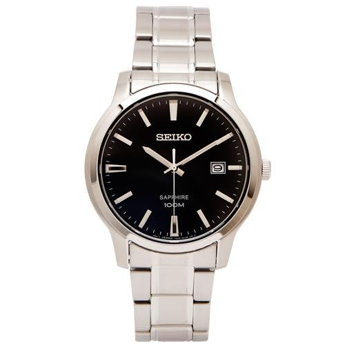 SEIKO 極簡紳士風藍寶石鏡面手錶(SGEH41P1)-黑面X銀色/40mm