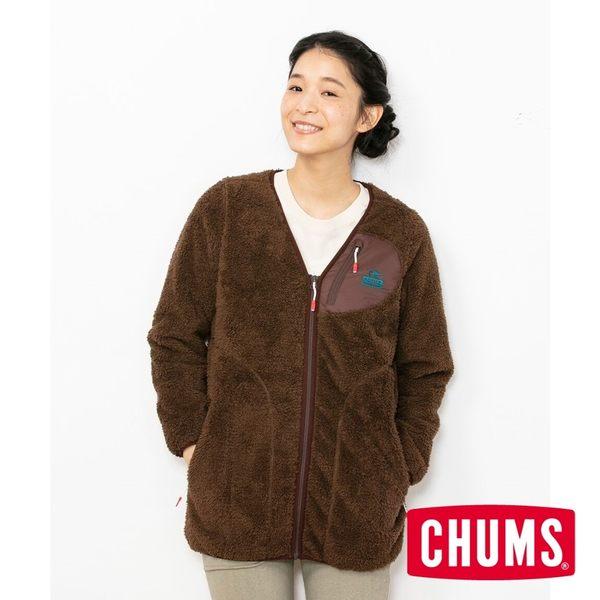 CHUMS 女 Bonding  刷毛大衣 棕色/藍綠色 CH141119B014