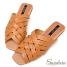 訂製款 韓版羅馬編織交叉拖鞋平底鞋-棕色下單區