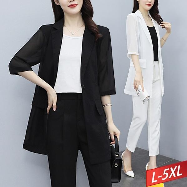 雪紡翻領西裝外套(2色) L~5XL【985399W】【現+預】-流行前線-