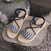 平底涼鞋女仙女風2020年新款夏季外穿學生百搭綁帶羅馬鞋 LF3905【Rose中大尺碼】