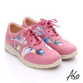 A.S.O 紓壓耐走 全牛皮拼接山水畫奈米休閒鞋  桃粉紅
