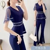 職業套裝小香風減齡顯瘦套裝女洋氣時尚職業裝氣質女神范褲子兩件套時 快速出貨 快速出貨