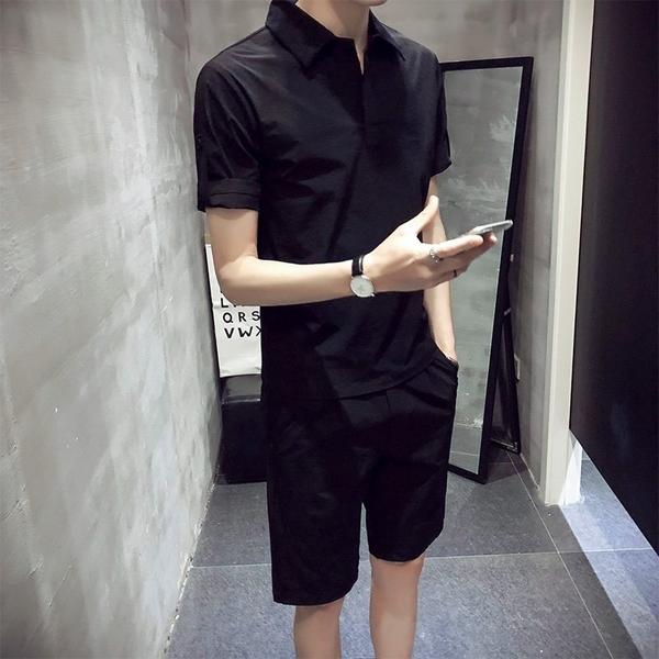 FINDSENSE H1 2018  夏季 新款 休閒 條紋 純色短袖 五分褲