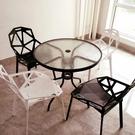 洽談桌鋼化玻璃圓桌洽談桌椅組合戶外小桌子現代簡約鐵藝餐桌休閒咖啡桌 【快速】