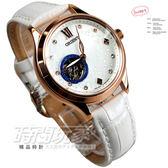 ORIENT東方錶 機械錶 鏤空 玫瑰金 銀河星鑽錶盤 羅馬時刻 皮革錶帶 白色 35mm 女錶 FDB0A008W