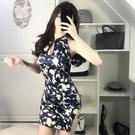 旗袍 夜店酒吧女2020新款性感夜店印花包臀連衣裙復古顯瘦禮服旗袍