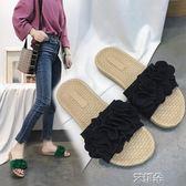 拖鞋 女新款復古編織平底防滑沙灘一字拖懶人外穿甜美花邊涼拖鞋 艾維朵