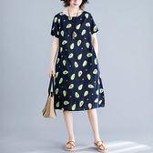 綢棉 俏皮印花洋裝-中大尺碼 獨具衣格