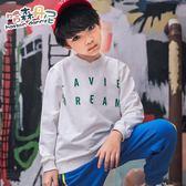新款秋冬季潮男童裝套頭字母印花衛衣兒童中大童T恤外套 免運直出交換禮物