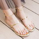 涼鞋.時尚細帶繞腳套趾平底涼鞋.白鳥麗子...