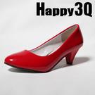 氣質甜美防水台漆皮粗低跟婚鞋女鞋-黑/白/杏/紅34-39【AAA0097】預購