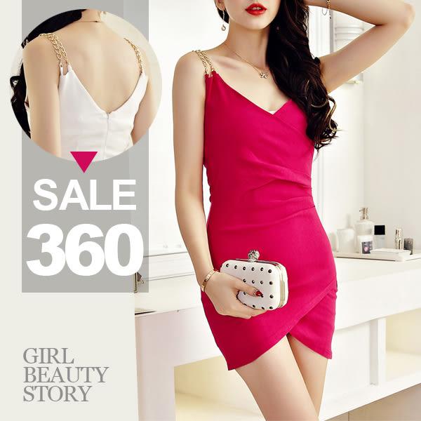 SISI【D7070】性感深低V領爆乳雙肩金屬鍊吊帶抓皺包臀不規則下襬連身裙洋裝