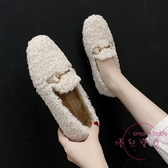 豆豆鞋 毛毛鞋女外穿秋冬新品鋪棉保暖平底棉鞋懶人豆豆鞋羊羔毛瓢鞋【快速出貨】