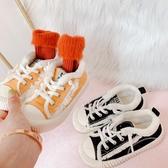 學步鞋 新冬季兒童透氣加絨保暖板鞋兒童休閑帆布鞋一腳蹬懶人鞋運動鞋子 麻吉部落