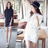 韓版竪條中長款襯衫洋裝S/M/L(YU-7491)