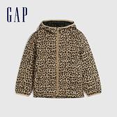 Gap女童 甜美印花輕薄款拉鍊連帽羽絨服 593435-豹紋
