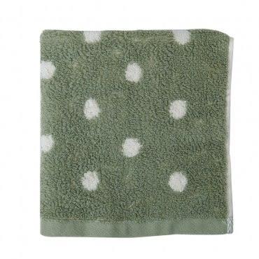 有機棉咖啡紗圓點方巾 綠色