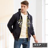 【JEEP】經典美式圖騰連帽外套 (深藍)