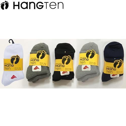 HANG TEN 經典1/2襪-白色/深色(22~26cm*3雙裝)【愛買】