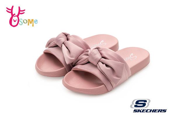 SKECHERS 女拖鞋 大蝴蝶結 寬版 彈力 健走拖鞋P8258#粉紅◆OSOME奧森童鞋